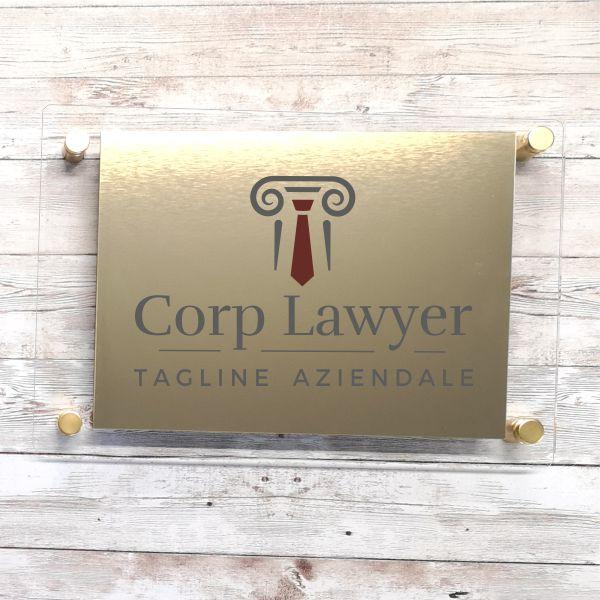 targa avvocato in plexiglas e acrilico oro