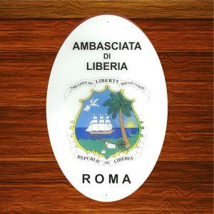 targa in plexiglas ambasciata liberia